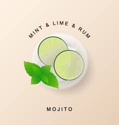 Tradition Summer drink mojito with lime and mint vector image