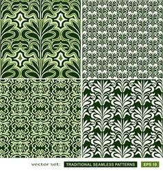 Vintage ornamental green backgrounds set vector image vector image
