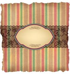Vintage stripes lace background vector image