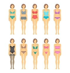 Woman figures in fashionable lingerie flat icons vector image vector image