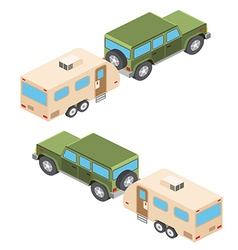 Isometric of car and travel trailers Summer trip vector image