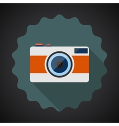 Old Retro Camera Flat Icon with long shadow vector image vector image