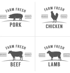 Set of vintage butchery meat stamps and labels vector image vector image