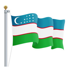 waving uzbekistan flag isolated on a white vector image vector image