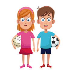 couple children sport soccer and volleyball vector image vector image