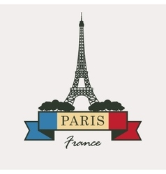 Eiffel tower against the french flag vector