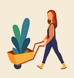 gardening farm woman vector image
