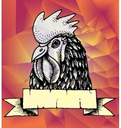 Geometric New Year background Rooster design vector image vector image