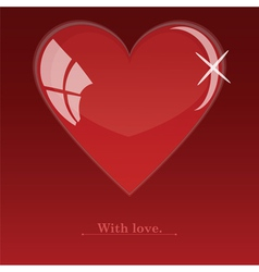 Glass red heart vector image