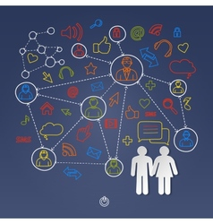 Global cyberspace social network concept vector image