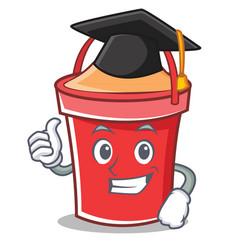 graduation bucket character cartoon style vector image vector image