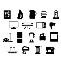 Home appliances black icons set vector image vector image