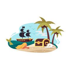 pirate uninhabited island vector image vector image