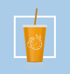 plastic fastfood cup for beverages citrus plastic vector image vector image