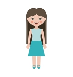 teen smiling with long hair and skirt vector image