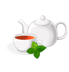cup of tea an teapot with mint vector image