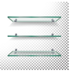 empty glass shelves template set isolated vector image
