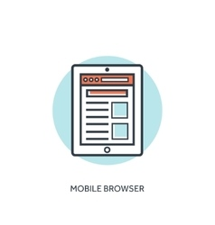 Flat lined mobile browser window Tablet and vector image