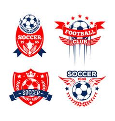football sport club of soccer game badge set vector image