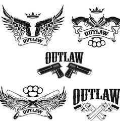 Set of Outlaw t-shirt print design templates vector image vector image