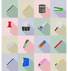 stationery flat icons 18 vector image vector image