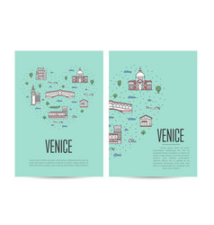 venice travel tour booklet set in linear style vector image vector image