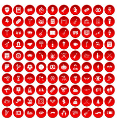 100 meeting icons set red vector
