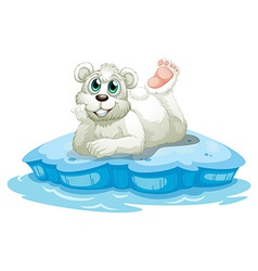 A happy bear above the iceberg vector