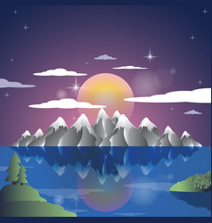 alps landscape sunset cartoon background vector image