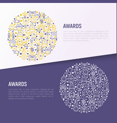 Awards concept in circle with thin line icons vector