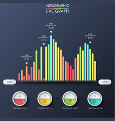 bar graph multicolored columns placed on vector image