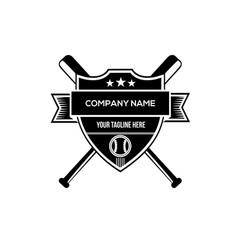 baseball badge black shield vector image