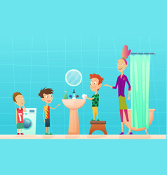 bathroom procedure mother with children standing vector image