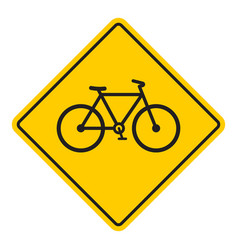 bike road yellow sign vector image