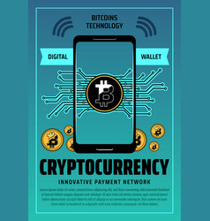 bitcoin cryptocurrency digital technology vector image