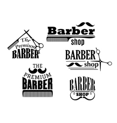 Black retro barber shop icons vector image