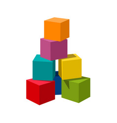 Bright colored blank bricks building tower vector