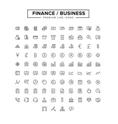 business finance line icon set vector image