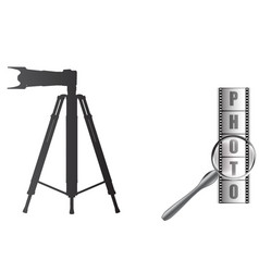 Camera on a tripod and photographic film vector