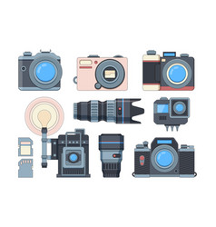 cameras and memory cards flat set vector image
