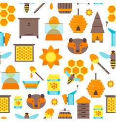 cartoon bee color background pattern vector image