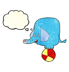 Cartoon circus elephant with thought bubble vector
