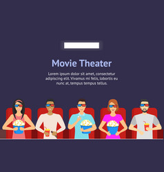 cartoon people watching movie in cinema background vector image