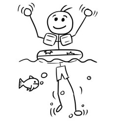 Cartoon stick man relaxing swimming with swim ring vector