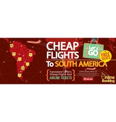 Cheap Flight To South America 1500x600 Banner vector