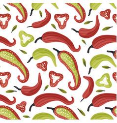 Chili pepper flat seamless pattern vector