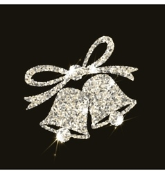 Christmas bells in silver style with flares on vector