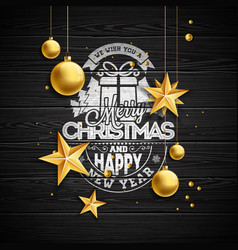 christmas with typography and vector image