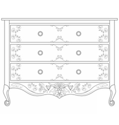 Classic commode with damask ornaments vector