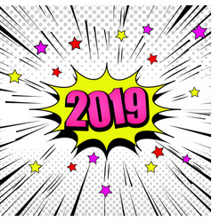 Comic pink 2019 year concept vector